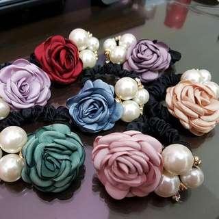 玫瑰花髮圈,髮飾
