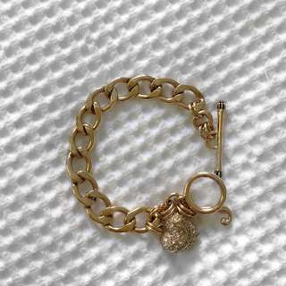 Authentic Juicy Couture Pave Banner Heart Starter Bracelet