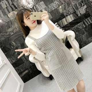 預購💡兩色針織吊帶裙+白上衣(灰/黑)D186