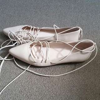 Wittner Lace Up Doll Shoes In Nude