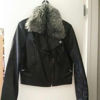 Black Pleather Jacket With Removable Fur Collar