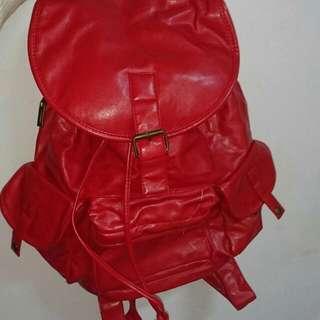 💼軟皮紅色後背包 超大容量✨