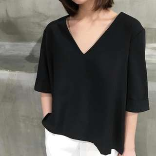 Basic Black V Neck Top