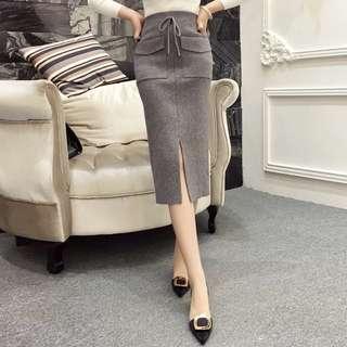 預購💡兩色雙口袋針織裙(黑/灰)D188