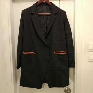 Longline Blazer With Contrast Pockets