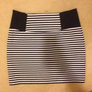 Black And White Stripped Mini Tight Skirt