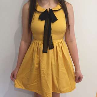 Dotti Clothing Mustard Sailor Retro Vintage Skater Dress Kawaii