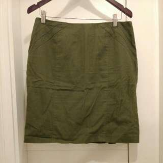 Army Green Skirt With Pleated Hem Details