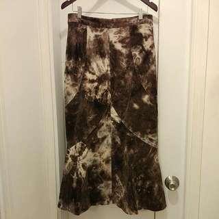 Corduroy Tie Dye Skirt With Slightly Mermaid Hem