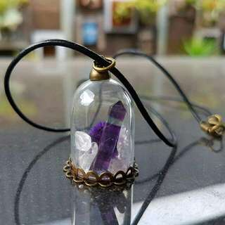 Dome Necklace With Fluorite crystal Point