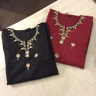 Beaded Brocade Blouse