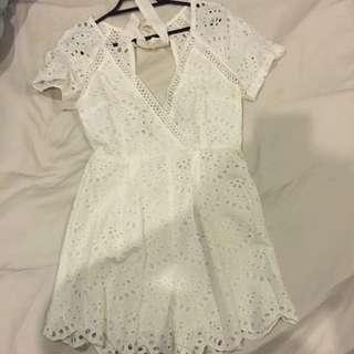 Cute Crochet White Playsuit