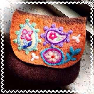 手工 變形蟲圖案羊毛氈 斜側隨身包