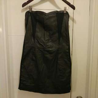 Gestuz Tube Leather Dress With Jersey Panels