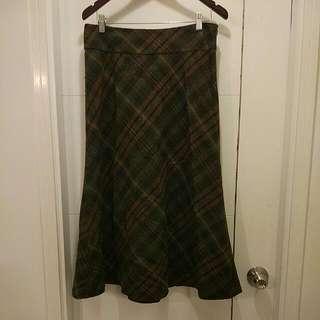 Lauren By Ralph Lauren Green Wool Skirt