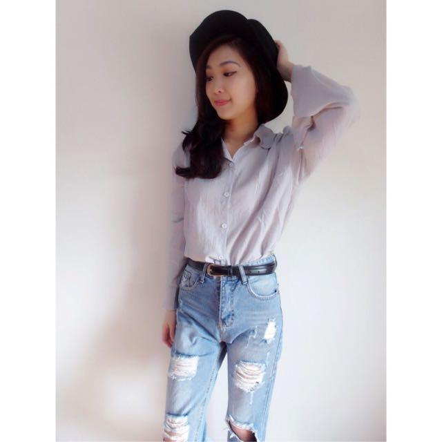 簡約純色喇叭袖寬鬆襯衫-2色