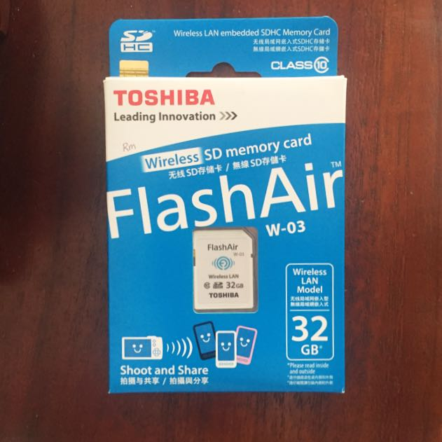 32GB Toshiba FlashAir Wireless SD Memory Card
