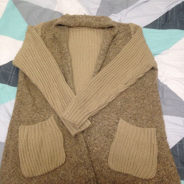 駝色針織鋪毛開襟#500元好外套