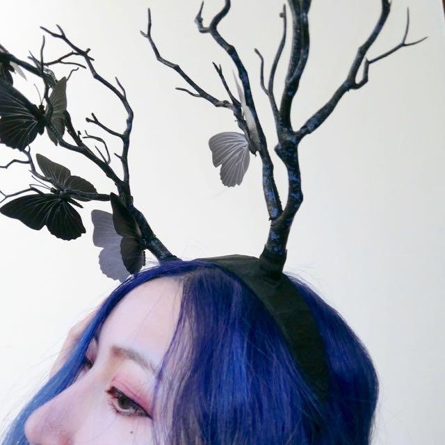 全新✨墨藍蝴蝶發箍