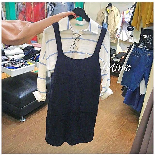 深藍針織吊帶裙~