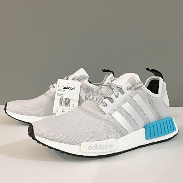 Adidas Nmd R1 White Reflective Cyan Men S Fashion Footwear On