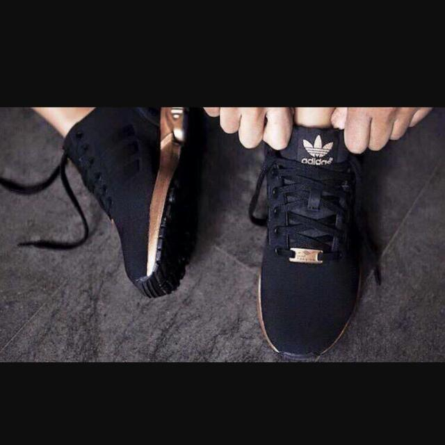 new styles 91123 a27d1 Adidas Zx Flux Black Gold/ Copper, Sports on Carousell