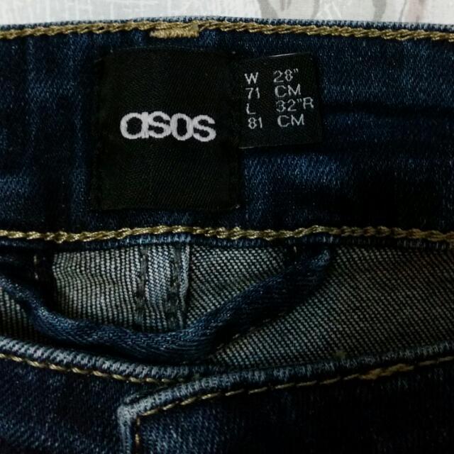 asos深藍刷白窄管褲-W28 L32