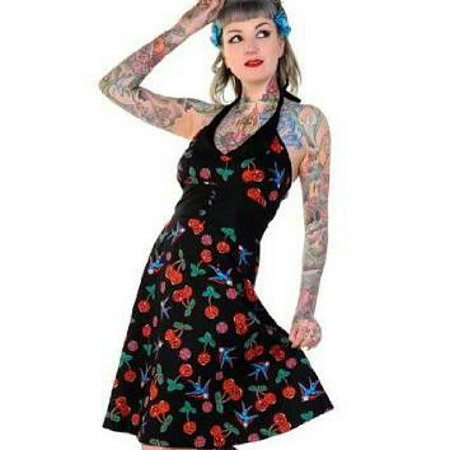 Banned Apparel Cherry Sugar Skull Dress Size 10 Brand New With Tags Pinup Style