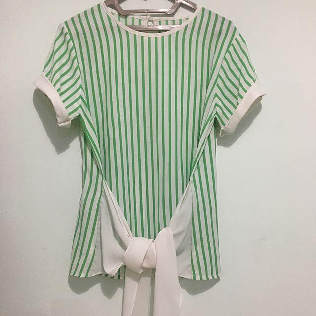 Blouse Green Stripes