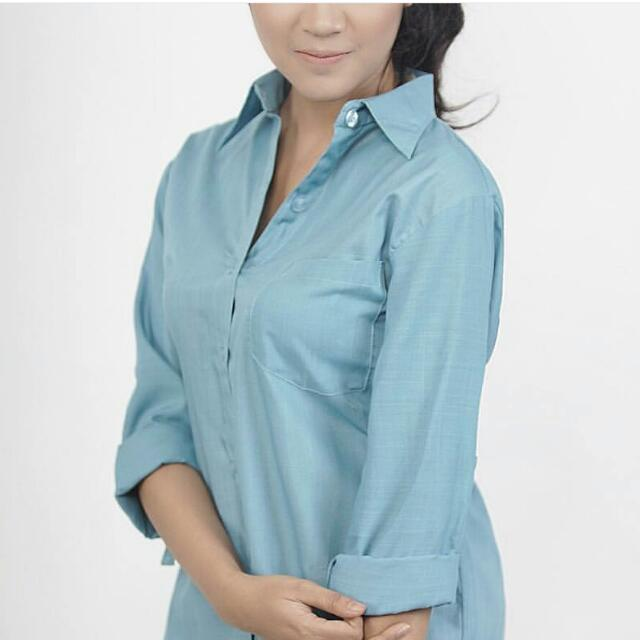 Blue Pocket Roll Up Shirt