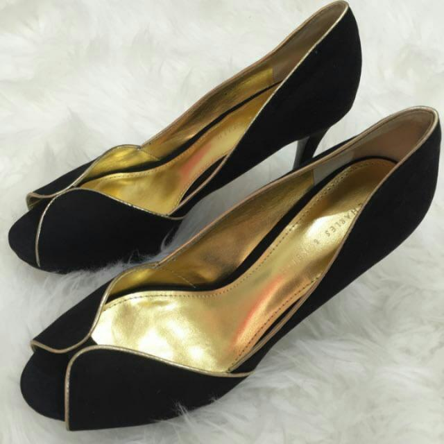 Charles n keith black gold heels