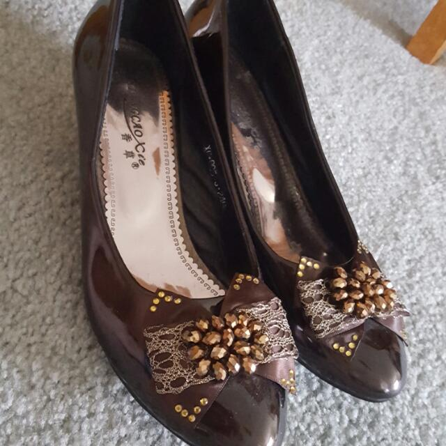 Chocolate Brown Rhinestone Heels