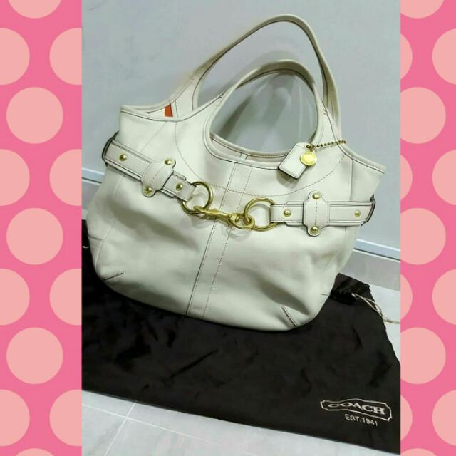 cbee9f66a2b5 ... new arrivals authentic coach ivory white large leather bag 4b39d 2e9b6