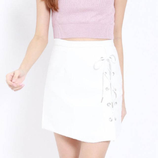 132b32b8f8 CRISS CROSS LACE UP SKIRT (WHITE), Women's Fashion, Clothes on Carousell