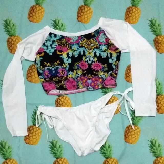 Cropped Rashguard Printed White Swimsuit ❤