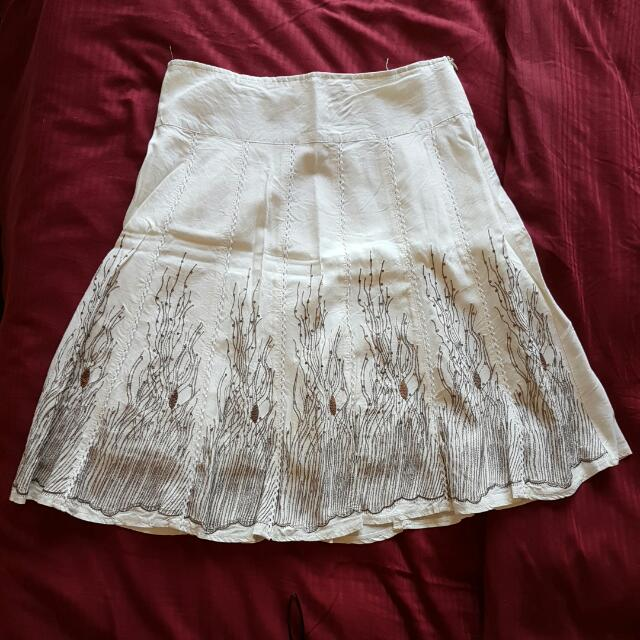 Emblished White Skirt