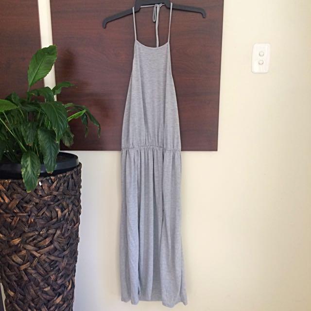 Grey Halterneck Backless Dress With Slits