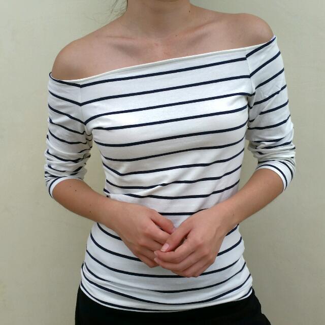 H&M Basic Off Shoulder Striped Top