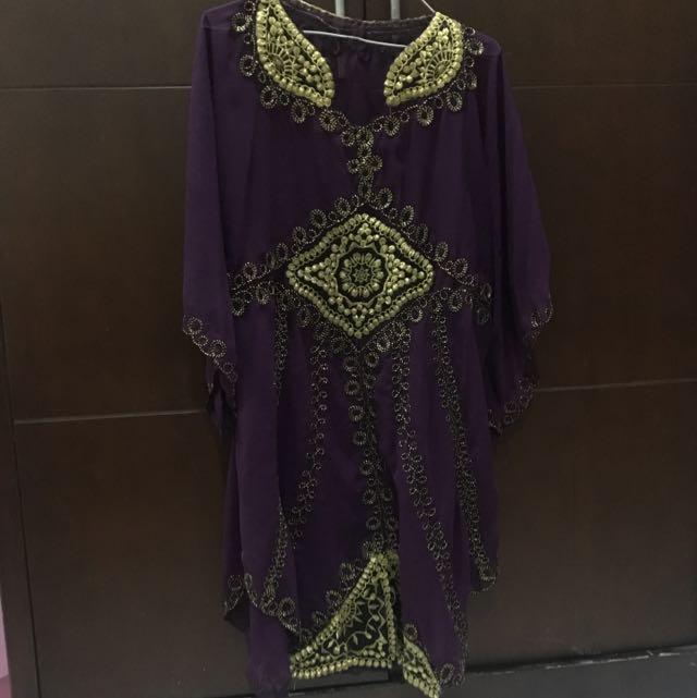 Kaftan Purple With Gold