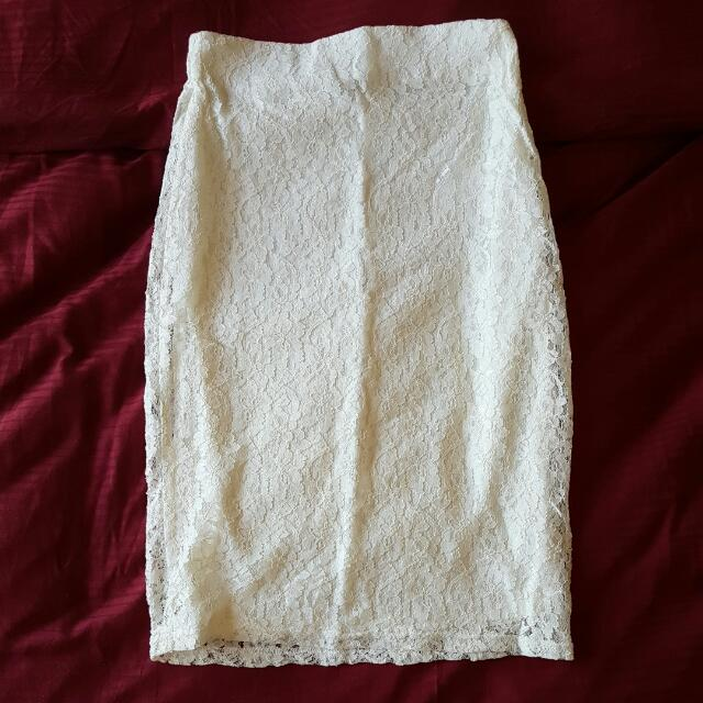 Lace Crochet White Pencil Skirt