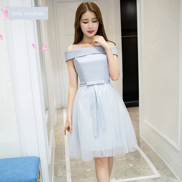 1b4ba55afad0 Off Shoulder Silver Tulle Bridesmaid   Sisters Dress   Evening Gown ...