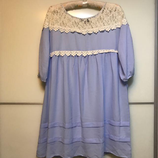 Pazzo蕾絲拼接線條洋裝