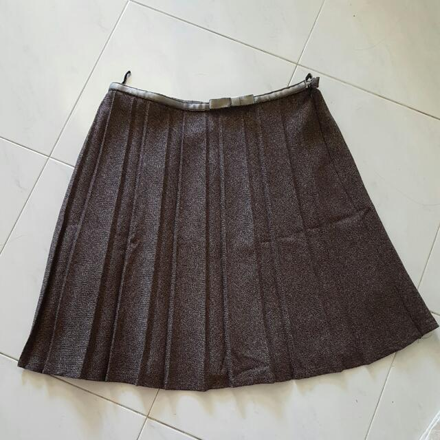Pleated Flare Ribbon Skirt