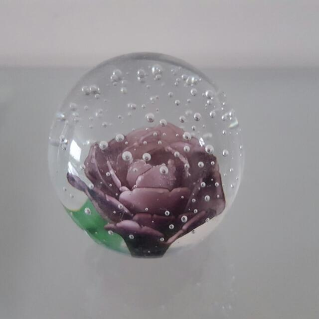 Purple Rose Paperweight Or Decor