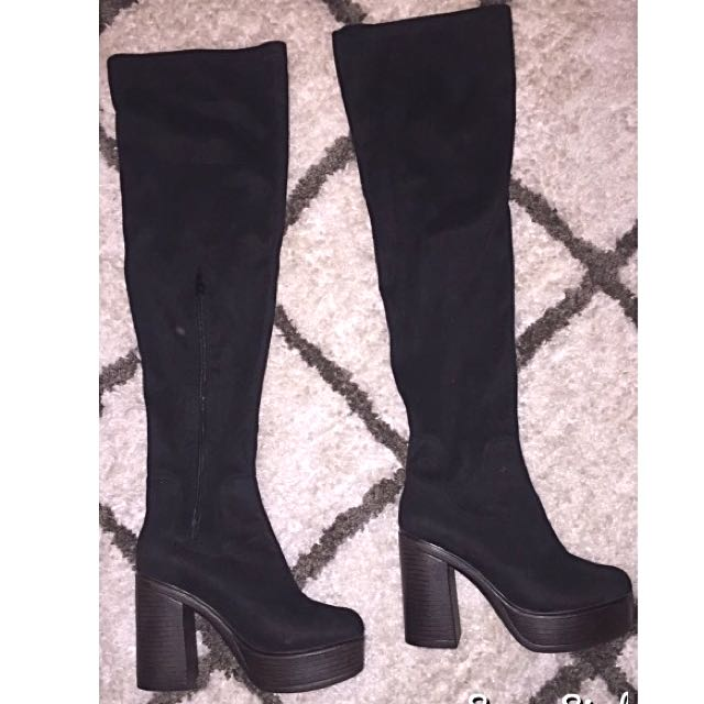 s38 Boohoo Thigh High Boots