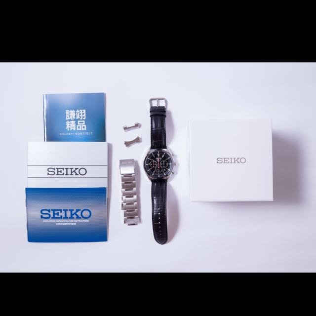 SEIKO 誰與爭鋒三眼計時腕錶(6T63-00H0D)-銀/45mm