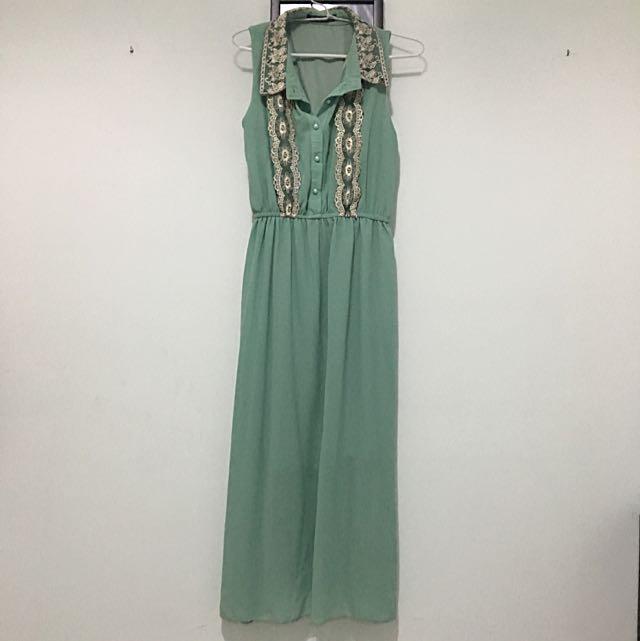 Sleeveles Mint Green Long Dress Eustacia & Co