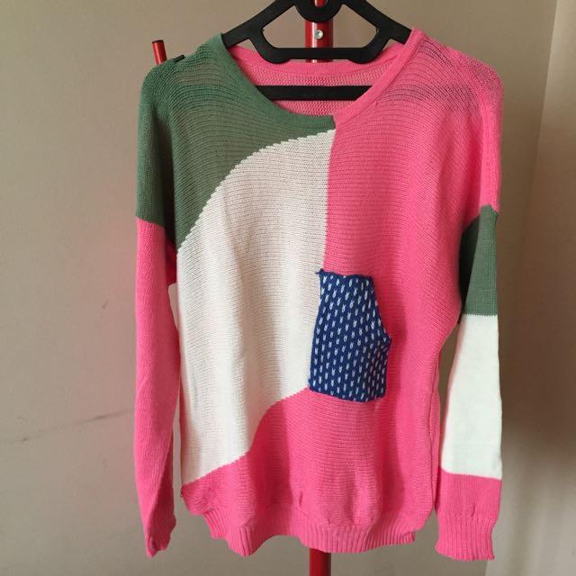 sweater pink rajut