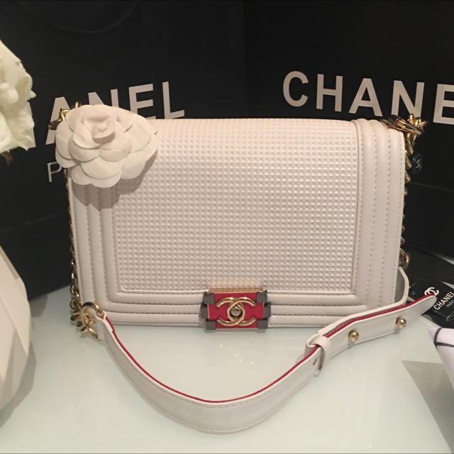 White Chanel Boy Bag