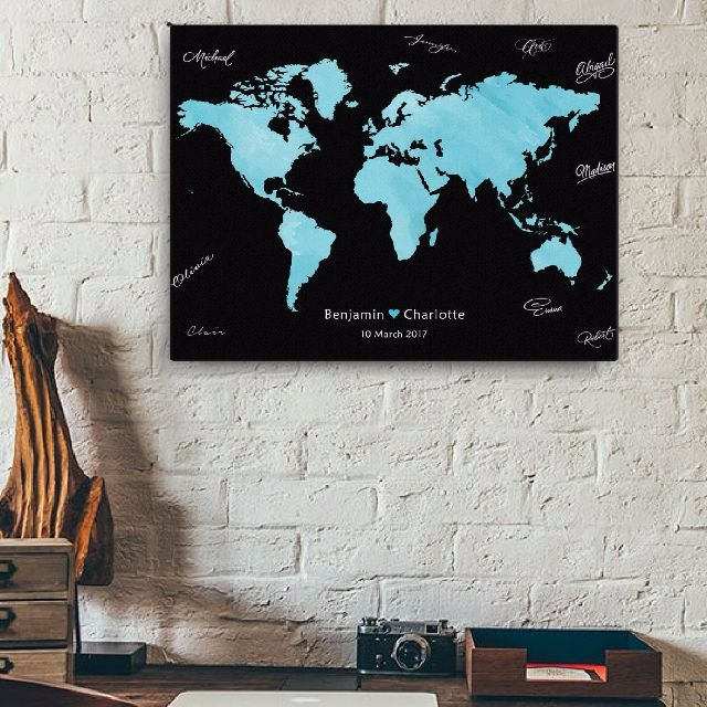 World map wedding customized watercolour sign in canvas poster or photo photo gumiabroncs Choice Image